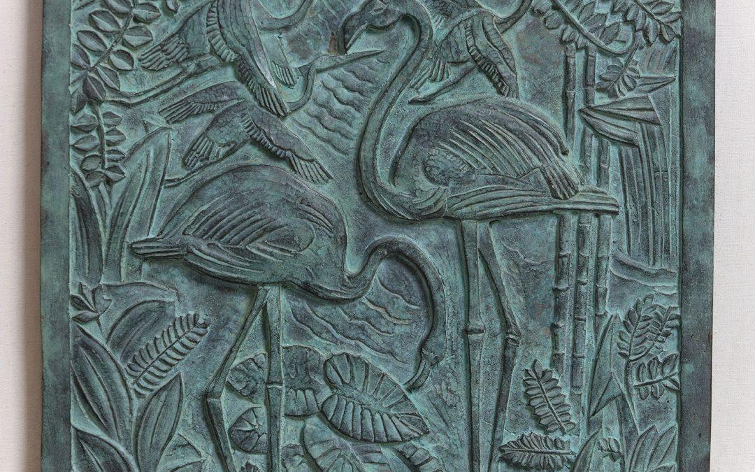 """Los Flamencos (Boceto para el bajorrelieve de la fachada principal del Museo de Ciencias Naturales """"Bernardino Rivadavia"""", Buenos Aires)."""